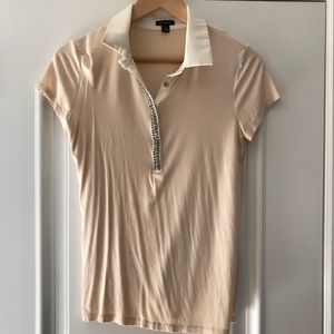 Ann Taylor polo w jeweled front